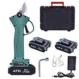 Professionelle Elektrische Astschere, 48V-2.0Ah Akku Gartenschere Tragbare Gartenschere Schnittschere, Schnittdurchmesser 30mm, für Gartenbäume und Obstbäume, 2 Wiederaufladbare Batterie und 2 Blades