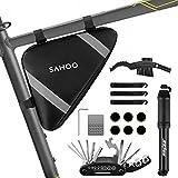 laxikoo Fahrrad Satteltasche mit 16 in 1 Werkzeuge Fahrrad Reparatur Set umfassen Fahhradtasche und Werkzeugsets und Fahrradventil Adapter die Fahrrad-Reparatur für Mountainbikes und Rennräder