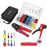 HOMCA Crimpzangen Aderendhülsen Set mit 1200 pcs Isolierte Unisolierte Kabelschuhe 0.25-10mm² Abisolierzange und Crimpzange Set Tool Kit mit einer Werkzeugtasche (Set B)