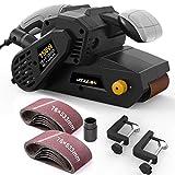JELLAS Bandschleifer 76 mm × 533 mm mit 10-teiligen Schleifbändern und Staubbeutel, Tischschleifer mit variabler Drehzahlregelung, 2-in-1-Staubsaugeradapter, 3 Meter langes Netzkabel