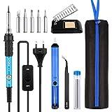 Lötkolben Set, WOWGO 60W 12-in-1 Schweißwerkzeuge Elektrisches Lötset mit Einstellbarer Temperatur, EIN/AUS-Schalter,5 Lötspitzen,Entlötpumpe, Löten Ständer mit Schwamm, Pinzette