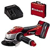Einhell Akku-Winkelschleifer TE-AG 18/115 Li Kit (1x3,0Ah) Power X-Change (Li-Ion, 18 V, 8.500 U/Min, max. Schnitttiefe 28mm, Zusatzhandgriff, inkl. Akku und Ladegerät, Koffer, ohne Trennscheibe)