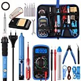 Lötkolben Set 24PCS, WOWGO 60W Schweißwerkzeuge Elektrisches Lötset mit 5 austauschbaren Spitzen, einstellbarer Temperatur, Digitalmultimeter, Lötkolbenständer, Entlötpumpe, tragbarer Werkzeugtasche