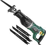 Säbelsäge, TECCPO Professional 1050W Säbelsäge 240V mit 2500 SPM, Schnitttiefe: 150 mm (Holz), 5 mm (Metall), Schnitthub 28 mm, 3 austauschbare Sägeblätter