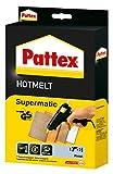 Pattex Hotmelt Supermatic Heißklebepistole / Klebepistole mit elektronischer Temperatursteuerung / Set mit Pattex Heißklebepistole + 2 Klebesticks, Ø 11 mm
