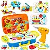 Buyger 276 Stück Mosaik Steckspiel Montessori Schrauben Spielzeug Werkzeugkoffer mit Bohrmaschine 3D Puzzle Bausteine für Kinder Jungen Mädchen